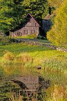 An Old Barn Reflected In Pond Ville De Lac Brome,