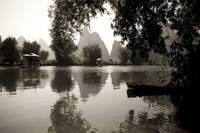 Black And White Scenic Of River, Yulong River, Yan