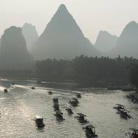 Boats Along The Li River At Sunset, Guilin, Guangx