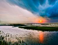 Dark Stormy Sea Sunset Landscape Rain on Water Art