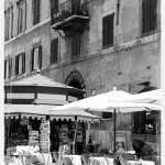 """Sunny Italian Cafe - Black and White"" by Groecar"