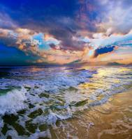 Colorful Waves Beautiful Heavenly Sunset Beach Art