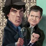 """Sherlock Homes Watson and Moriarty at 221B"" by martindavey"