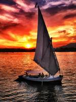 sunset sailing on the Nile river