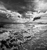 Black and White Photo-Sea Waves Crashing on Shore