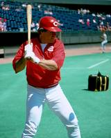 Pete Rose warming up