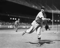 Bob Feller pitches