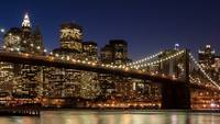 New York City with Brooklyn Bridge Skyline