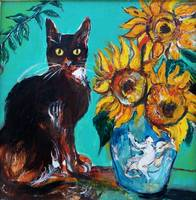 SUNFLOWERS WITH CAT IN BLUE TURQUOISE