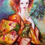 """""""ROMANTIC WOMAN WITH SPARKLING PEACOCK FEATHER"""" by BulganLumini"""