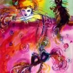 """LADY WITH BLACK CAT"" by BulganLumini"