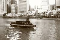 Singapore River, monochrome,