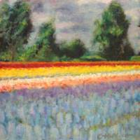Tulip Time Floral Landscape Triptych 1 of 3