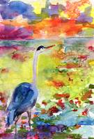 Where Blue Herons Dream Watercolor by ginette