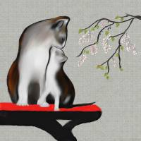 ASIAN MOTHER CAT AND KITTEN Art Prints & Posters by Rita Whaley
