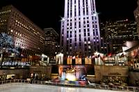 NYC Rockefeller Center and Rink at Night