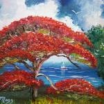 """Red Royal Poinciana Tree and Sailboat"" by mazz"