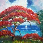 """Blooming Royal Poinciana Tree and Sailboat"" by mazz"