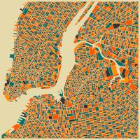 NEW YORK MAP Art Prints & Posters by Jazzberry Blue