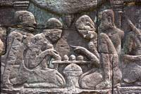 Wall carving of Ancient game players Angkor Wat Ca