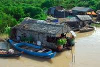 Village on the Tonle Sap lake Cambodia