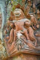 Wall carving of Demon Angkor Wat Cambodia