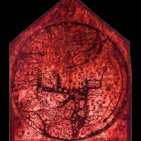 Hereford Mappa Mundi Red Tint Small Black Border Art Prints & Posters by L Brown