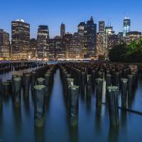 NYC Lower Manhattan Skyline at Dusk Art Prints & Posters by New Yorkled