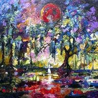 Crimson Moon Garden of Good and Evil Art Prints & Posters by Ginette Callaway