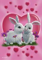 Romantic White Rabbits with Heart