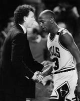 Michael Jordan talks with coach