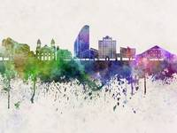 San Jose skyline in watercolor background