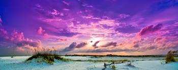 Purple Clouds Skyscape Sunset Over Beach Sand Dune