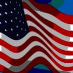 """Abstract 50 Star American Flag Flying Close Up"" by TheNorthernTerritory"