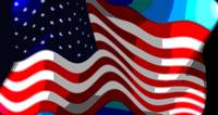 Abstract 50 Star American Flag Flying Close Up