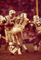 Joe Namath handing off to Matt Snell