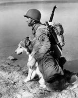 Military soldier and dog vintage