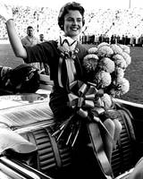 Vintage football homecoming queen waves