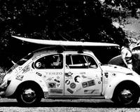 Vintage VW bug ready to surf