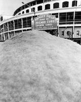 Snow mound in front of Wrigley Field