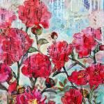 """Peony Polka, pink peony mixed media collage art"" by schulmanart"