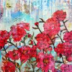 """Piano Peonies, floral mixed media collage art"" by schulmanart"