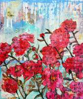 Piano Peonies, floral mixed media collage art