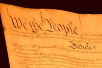 US Constitution Closeup Brown Background