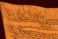 US Constitution Closeup Sculpture Brown Background