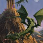 """Dragons flying around a temple on mountain top"" by martindavey"