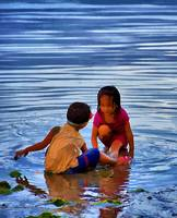Children playing in water
