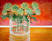 Green Flowers Against a Red Painting