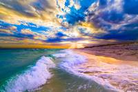 Beautiful Blue Beach Sunset Blue Clouds and Waves