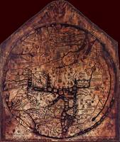 Hereford Mappa Mundi Darkest Red Corners Large
